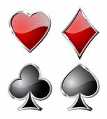 Playing card set symbols isolated on white background.