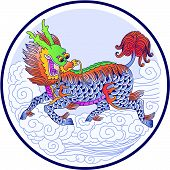 image of chinese unicorn  - Chinese Unicorn in chinese drawing style  - JPG
