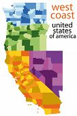 detailed vector map of west coast, usa