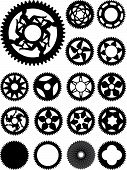 foto of bicycle gear  - Collection of 17 different bike cogs shapes - JPG