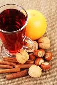 glass of hot wine with orange and spices
