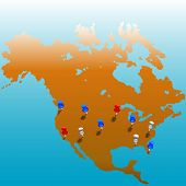 Stecken Sie die Stifte in den USA. Karte von Amerika & Farbe Stifte auf Folien für leicht bearbeiten. Blutet in weiß oben;
