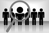 A magnifying glass finds, selects or inspects a person in a line of people: search & choose for employment, recognition, promotion,  hire, etc.