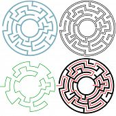 A circle maze in 3 puzzling 3 variations, with separate solution, easy to edit to make your own versions. Copyspace in the center.