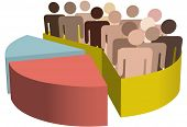 A chart with a diverse group of people as symbols of majority, population, team, market, customers,