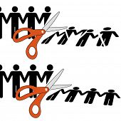 Symbol of firing workers or disuniting people by cutting off a row of people into pieces.