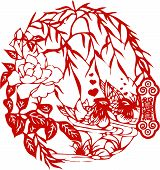 Floral Element Design In Chinese Traditional Paper Cut Style