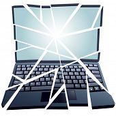 Un ordenador mal roto en pedazos y necesidad de reparación.