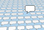 One speech bubble copy space voice talks over the noise of social media or blog voices on blue backg