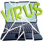 Un virus informático se bloquea y rompe una laptop o netbook a pedazos.