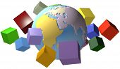 pic of eastern hemisphere  - Global data cubes or shipping boxes orbit the Eastern Hemisphere of an Earth globe - JPG