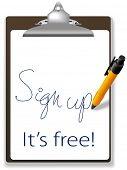 Clipboard and pen icon invites guests to click link and sign up for free to join your website, add t