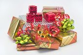 picture of christmas-present  - a bright pile of christmas presents - JPG