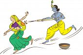 Calligraphic Krishna Playing Holi with Radha