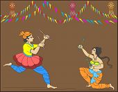 Garba (Dandia) is an Indian form of dance that originated in the Gujarat region, People dance around the deity clapping rhythmically.