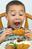 Boy Eating Fried Chicken