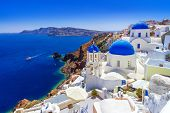 Beautiful Oia town on Santorini island, Greece poster