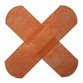 Bandaids forming a red cross, clipping path