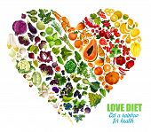 Color Detox Diet Of Vegetables And Fruits, Vector Heart Shape. Motto Eat Rainbow For Health. Benefit poster