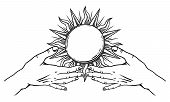 Open Hands With Vintage Sun. Spirituality, Astrology And Esoteric Concept. Black And White Hand Draw poster