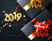 2019. Happy New Year. Gift Boxes With Golden Glossy Bows, Ribbons And Sparkling Tinsel. Vector New Y poster