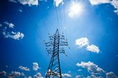 Electricity Is The Major Energy Of The World. High Voltage Post. High Voltage Tower Sky Background.  poster