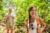 Forest hiker young hikers tourist walking in outdoor nature in Hawaii. Summer outdoor active lifesty poster
