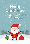 Santa Claus With Bag Of Gifts And Christmas Tree. Merry Christmas And Happy New Year. Holiday Greeti poster