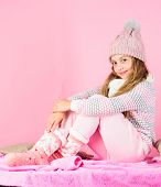 Winter Fashion For Children. Kid Smiling Fashion Model. Kid Girl Wear Cute Knitted Fashionable Hat A poster