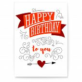 Happy Birthday. Design Of Text, Lettering, Vintage Poster. Stylish Greetings Of Happy Birthday. Crea poster