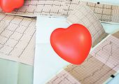 Cardiogram With Small Red Heart On The Table Background. Top View, Copy Space poster