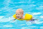 Baby In Swimming Pool. Kids Swim. poster