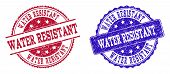 Grunge Water Resistant Seal Stamps In Blue And Red Colors. Stamps Have Draft Style. Vector Rubber Im poster