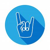 Rock And Roll Hand Icon With Long Shadow. Hand Drawn Rock And Roll Hand Sign Icon With Long Shadow.  poster