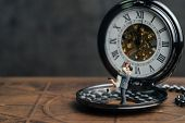 Miniature People Happiness Couple Figure Standing On Vintage Pocket Watch, Husband Holding His Wife  poster
