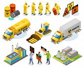Toxic Waste Isometric Icons With Nuclear Power Plant Biological Infectious Materials Transportation  poster