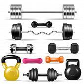 Dumbbell Vector Fitness Gym Weight Equipment Dumb-bells Kettlebell Illustration Bodybuilding Set Of  poster