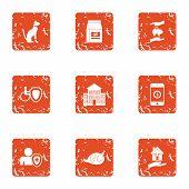 Animal Remediation Icons Set. Grunge Set Of 9 Animal Remediation Vector Icons For Web Isolated On Wh poster