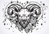Hand-drawn Beautiful Artwork Of A Ram With Peony Flowers And Astrology Signs Around. Aries, Zodiac S poster
