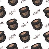 Seamless Pattern, Handdrawn Color Sketch Of Eyebrow Shadows, Makeup Products poster