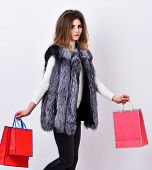 Fashionista Buy Clothes In Shop. Girl Makeup Face Wear Fur Vest White Background. Woman Shopping Lux poster