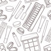 Seamless Pattern, Handdrawn Sketch Of Eyeshadow Products, Line Art poster