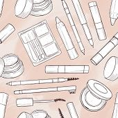 Seamless Pattern, Handdrawn Sketch, Set Of Eyebrow Products On A Watercolor Background poster