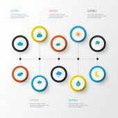 Climate Icons Flat Style Set With Sunny, Crescent, Lightning And Other Cloud Elements. Isolated Vect poster