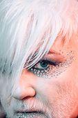 Express Yourself Through Fashion. Transgender Man Wear Eyeshadows And Eyebrow Makeup. Male Makeup Lo poster
