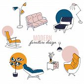 Isolated Home Decor Elements In Hand Drawn Style. Vector Scandinavian Interior Design . Illustration poster