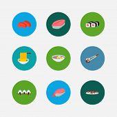 Nutrition Icons Set. Saba Nigiri And Nutrition Icons With Sashimi, Spaghetti And Rice Ball. Set Of C poster