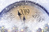 Countdown to midnight. Retro style clock counting last moments before Christmass or New Year 2019. poster