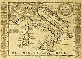 Map of Italy framed by territorial crests. May be dated to the beginning of XVIII sec.