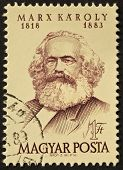 HUNGARY - CIRCA 1968: A stamp printed in Hungary shows image of Karl Marx, famous communism sociologist. Hungary, circa 1968